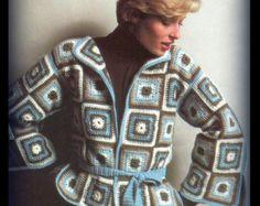Retro mujer ganchillo abuela cuadrado suéter de color gris a