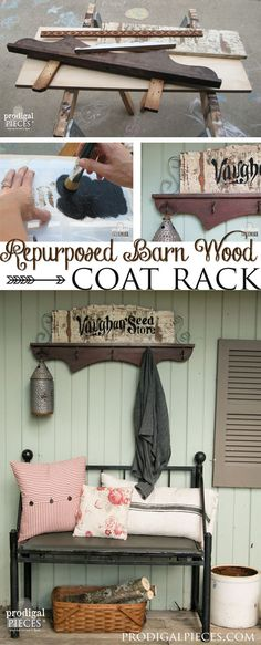 Create a repurposed coat rack using cast off barn wood and furniture pieces by Prodigal Pieces www.prodigalpiece... #prodigalpieces
