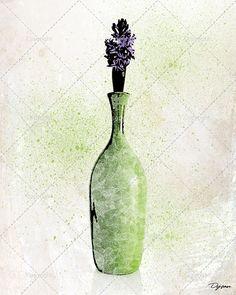 Illustration d'une fleur lilas dans un pot. Idéal pour par DysanArt
