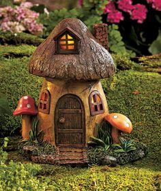 Mushroom Solar Power Lighted Fairy or Gnome Home Garden Yard Flower Bed Decor Clay Fairy House, Fairy Garden Houses, Gnome Garden, Garden Art, Flower Bed Decor, Mushroom House, Fairy Crafts, Clay Fairies, Fairy Doors