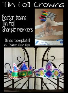 tin foil crown and tiaras  Sharpie markers patterns @ Toddler Time Tips @ https://www.facebook.com/toddlertimetips