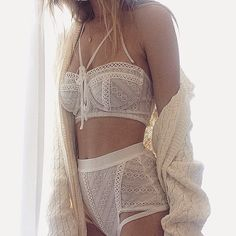 Mornings in the Lilly Bustier Bra and Hi-Waist Panty ☕️ #ForLoveandLemons #DownToYourSKIVVIES