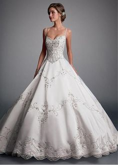 Elegant Tulle Spaghetti Straps Neckline Ball Gown Wedding Dresses With Embroidery #weddingdress