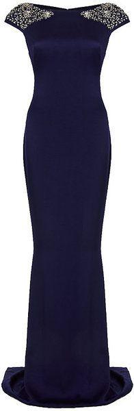 Marchesa Cap Sleeve Gown in Blue (navy) - Lyst