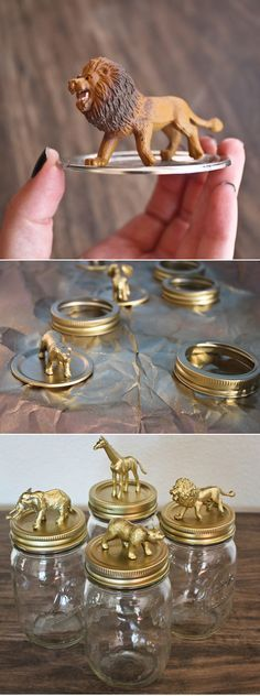 DIY Golden Safari Mason Jar Caps great for changing table things like cotton bal&; DIY Golden Safari Mason Jar Caps great for changing table things like cotton bal&; Fun Crafts, Diy And Crafts, Crafts For Kids, Creative Crafts, Quick Crafts, Paper Crafts, Mason Jar Crafts, Mason Jars, Candy Mason
