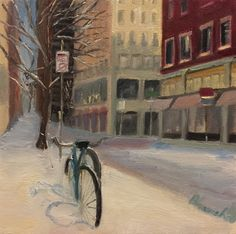 "Bicycles In Snow, 2017. Oil on Canvas, 10"" by 10"""