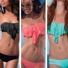 Ruffle Bikini Set New, never used. I have 3 coral left, one of each size. I have 2 of the black left, 1 small and 1 large. Will take $20 lowest. If interested please let me know so that I can adjust the price and you can take advantage of $1.99 shipping. Swim Bikinis