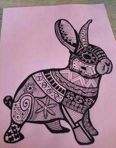 Zelfgemaakt #konijn #zentangle #doodle