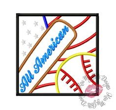 All Amercian Bat and Baseball/Softball in Box Machine Embroidery Applique Design