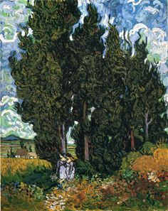 Vincent van Gogh (1853-1890) Two women on a walk near a row of cypress trees. Close up view of his brushstrokes.