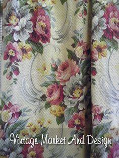 Vintage Cabbage Rose Barkcloth Panels
