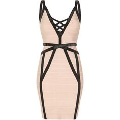 MUSE Nude and Black Bandage Dress with Plunge Neck (275 AUD) ❤ liked on Polyvore featuring dresses, vestido, plunging neckline cocktail dress, evening wear dresses, plunging neckline prom dress, nude dress and plunge neck dress