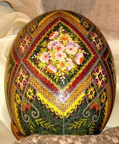 Ostrich egg pysanka by Ulyana
