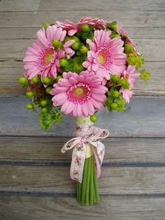 gerber daisy wedding bouquets | What a cheerful bouquet! Mini Gerber Daisies, paired with green ...This!