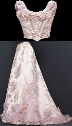 Evening gown by Augusta Lundin, early 20th century, at the Royal Armory, Stockholm. Worn by Ingeborg, Duchess of Västergötland. Full-length sleeveless dress of pink silk with woven chrysanthemums. Square neckline, draping across bust. Ruffles of pink organza around neckline. See: http://emuseumplus.lsh.se/eMuseumPlus?service=direct/1/ResultDetailView/result.tab.link&sp=10&sp=Scollection&sp=SfieldValue&sp=0&sp=1&sp=3&sp=SdetailView&sp=77&sp=Sdetail&sp=1&sp=F&sp=SdetailBlockKey&sp=0