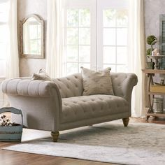 Features:  -Reinforced hardwood frame.  -Natural, linen-like upholstery.  -Sinuous springs.  Style (Old): -Contemporary.  Upholstery Color: -Beige.  Frame Material: -Wood/Manufactured wood.  Upholster
