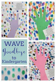 A fingerprint and hand art project at the end of kindergarten. Kindergarten Memory Books, Art Activities For Kindergarten, Kindergarten Graduation Gift, Pre K Graduation Songs, End Of Year Activities, Graduation Ideas, Kindergarten Party, Graduation Crafts, Work Activities
