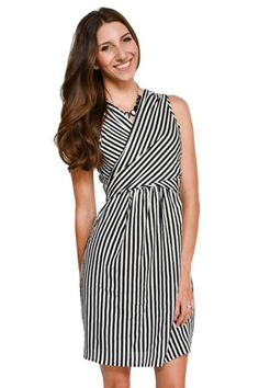 ca32009d188e7 Mel Woven Wrap Nursing Dress (Black & White Stripes) by Sophie & Eve  Maternity