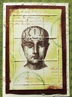 Bolton House: Evergreen Steampunk Card using a Phrenology head stamp