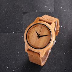 Best Price $12.99, Buy Casual Nature Wood Bamboo Genuine Leather Band Strap Wrist Watch Men Women Cool Analog Bracelet Gift relojes de pulsera