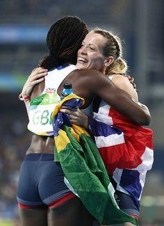 Eilidh Doyle and Christine Ohuruogu of Great Britain react after winning bronze…