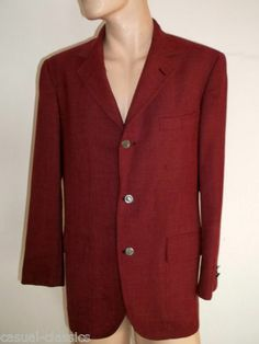 """Mens BROOKS BROTHERS Suit Jacket 44"""" chest Rare vintage made in USA Red 