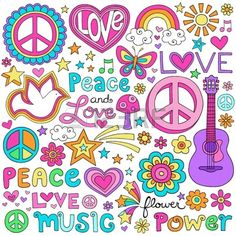 Peace and Love Flower Power Groovy Psychedelic Notebook Doodles. Peace and Love Flower Power Groovy Paz Hippie, Hippie Peace, Hippie Love, Hippie Party, Flower Power, Hippie Flowers, Love Flowers, Peace Love Happiness, Peace And Love