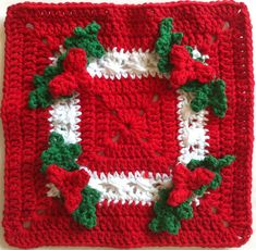 A holly square #crochetdishcloth is exactly what your kitchen needs for the holiday season. Make these for gifts and keep a few for yourself.