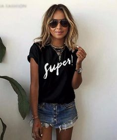 Women's Super Tee. Look super stylish in this printed tee. All your favorite bloggers do. Item Type: Tops Gender: Women Material: Cotton,Polyester Size: S,M,L,XL,2XL,3XL,4XL,5XL