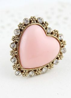 Pink Heart Gold Crys fashion love