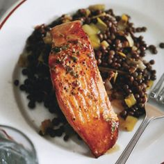 Salmon with Lentils and Mustard-Herb Butter (_Saumon aux Lentilles_)