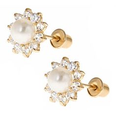 Child Jewelry - 14K Gold Pearl Screw Back Earrings for Girls with White CZ from www.thejewelryvine.com