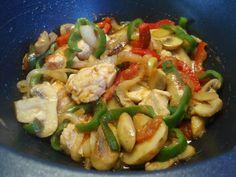 salteado de pollo en wok
