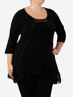 La Halle T-shirt asymétrique femme grande taille Noir