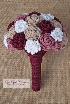 Crochet Flower Wedding Bridal Bouquet wedding keepsake Cotton Candy Ideas for Parties and Events A p Crochet Hook Set, Crochet Diy, Easy Crochet Projects, Unique Crochet, Love Crochet, Beautiful Crochet, Crochet Crafts, Crochet Bouquet, Crochet Puff Flower