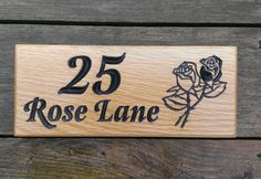 House Number Sign - Small - 265 x House Names, Street Names, Bramble, Solid Oak, Creative Design, Backyard, Number, Signs, Wood