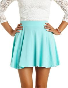 High-Waisted Cotton Skater Skirt: Charlotte Russe