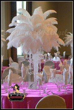 Feather Centerpieces - Weddingbee this centerpiece has 50 for a very full look feathers but 35 is good! Gatsby Wedding, Wedding Table, Wedding Reception, Our Wedding, Dream Wedding, Wedding Stuff, Event Planning, Wedding Planning, Feather Centerpieces