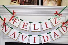 Feliz Navidad Banner, Christmas Banner, Spanish Christmas Decoration, Christmas Garland Bunting, Holiday Garland, Merry Christmas banner  #feliznavidad #Feliz Navidad