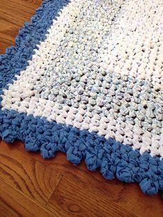 Handmade Rag Rug Crocheted Baby Boy Blue Square