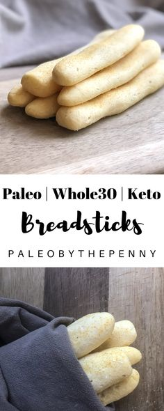 "These breadsticks have a warm, flaky, soft center and a ""buttery"" garlic salted crust. They are heavenly! They are simple to make and take less than 30 minutes from start to finish. You're going to love them! This recipe is Paleo, Keto, and compliant! Paleo Whole 30, Whole 30 Recipes, Whole 30 Snacks, Recetas Whole30, Whole 30 Dessert, Desserts Keto, Plated Desserts, Paleo Bread, Paleo Pizza"