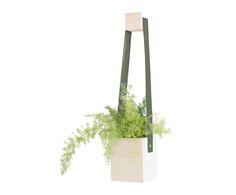 Macetero colgante en madera de abeto - blanco y verde