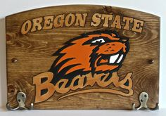 Oregon Beavers Handcrafted Wood Plaque with Hooks by TeamPlaques4U