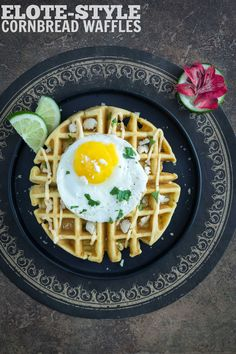 Elote-Style Cornbread Waffles with a Fried Egg | Kailley's Kitchen