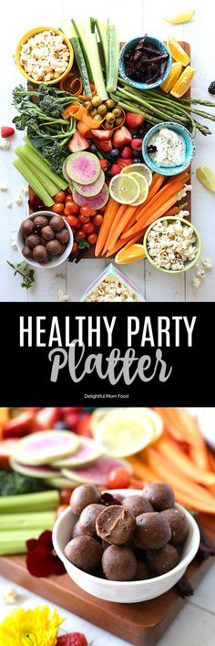 A simple and delicious healthy snacks party platter for kids and everyone to enjoy! Get the best tips on how to make a healthy snack tray with wholesome, vegan and gluten-free ingredients! If it's a birthday party, after school snack time, or a get together with friends, this party platter has you covered! #party #platter #tray #partyfood #howto #vegetable #fruit #vegan #food #healthy #kids #snacks | delightfulmomfood.com