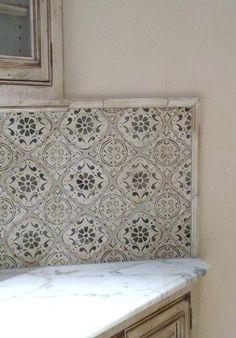 Tabarka tiles are handmade terracotta tiles inspired by Moroccan, Moorish and Tunisian designs. Tabarka Tile, Interior Exterior, Interior Design, Kitchen Wall Tiles, Backsplash Tile, Kitchen Decor, Tiling, Bathroom Gallery, Color Tile