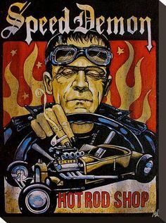 Speed Demon by Mike Bell Frankenstein Monster Hot Rod Art Poster Print – moodswingsonthenet Stretched Canvas Prints, Canvas Art Prints, Fine Art Prints, Mike Bell, Frankenstein's Monster, Monster Mash, Garage Art, Garage Signs, Bride Of Frankenstein