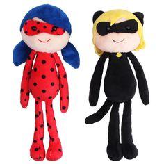 "2pcs Miraculous Ladybug Cat Noir Plagg Tikki Plush Doll Toys 10"" | Toys & Hobbies, Action Figures, TV, Movie & Video Games | eBay!"