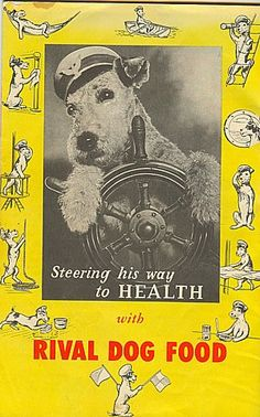 """vintage poster - looks like a mighty Airedale """"steering his way to health""""!"""