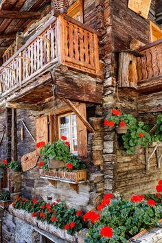 """""""Belle façade fleurie"""" by Papilli on Flickr - Belle facade fleurie, Rue du Village, Grimentz:  Val d'Anniviers, Valais, Suisse"""